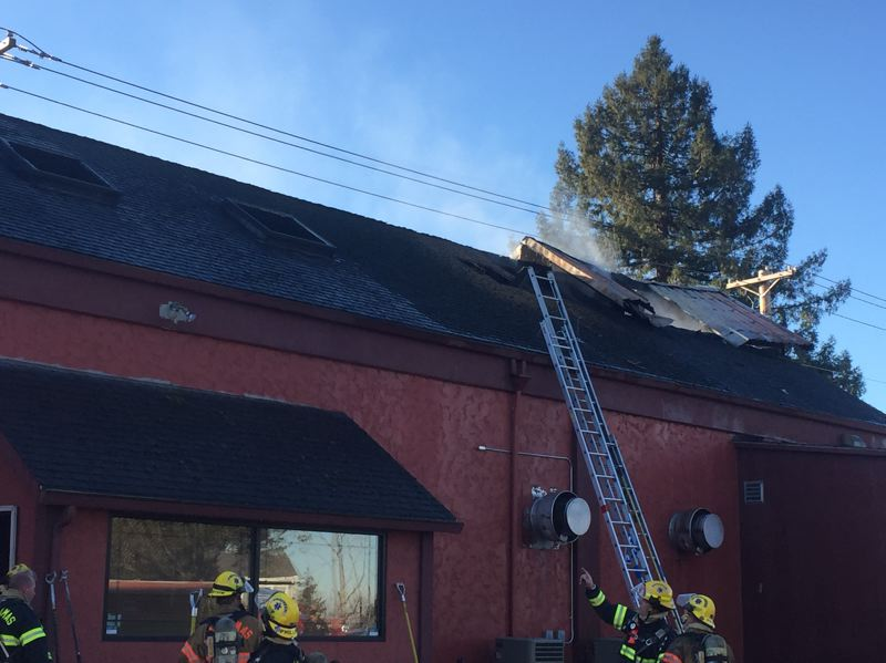 PHOTO COURTESY: CLACKAMAS FIRE - The commercial fire at 220 Molalla Ave. in Oregon City resulted in no reported injuries.