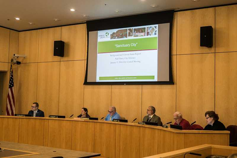 NEWS-TIMES PHOTO: CHASE ALLGOOD - The City Council hears public comment on the possibility of making a proclamation on the designation of Forest Grove as a Sanctuary City.