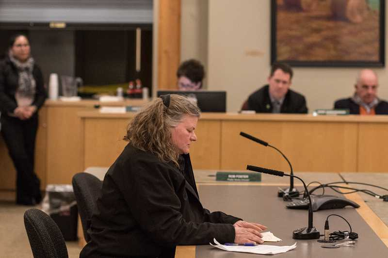 NEWS-TIMES PHOTO: CHASE ALLGOOD - Shirley Evers speaks in opposition to the Sanctuary City designation.
