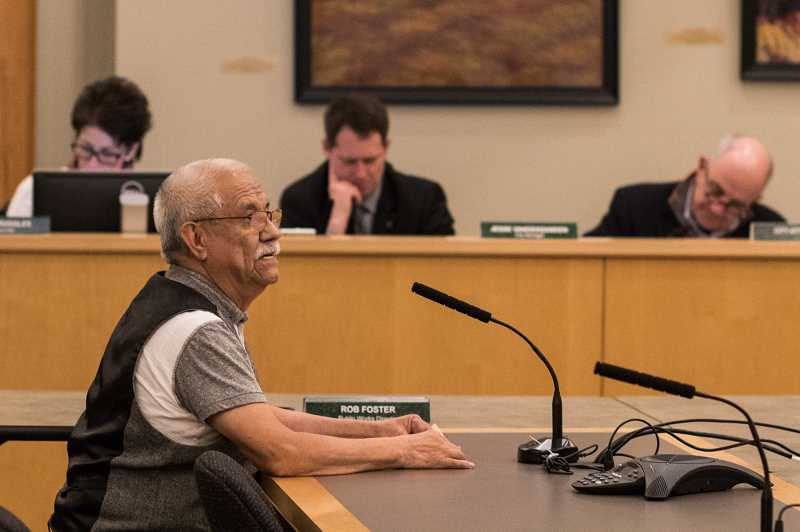 NEWS-TIMES PHOTO: CHASE ALLGOOD - Jose Jaime speaks in favor of the Sanctuary City designation.