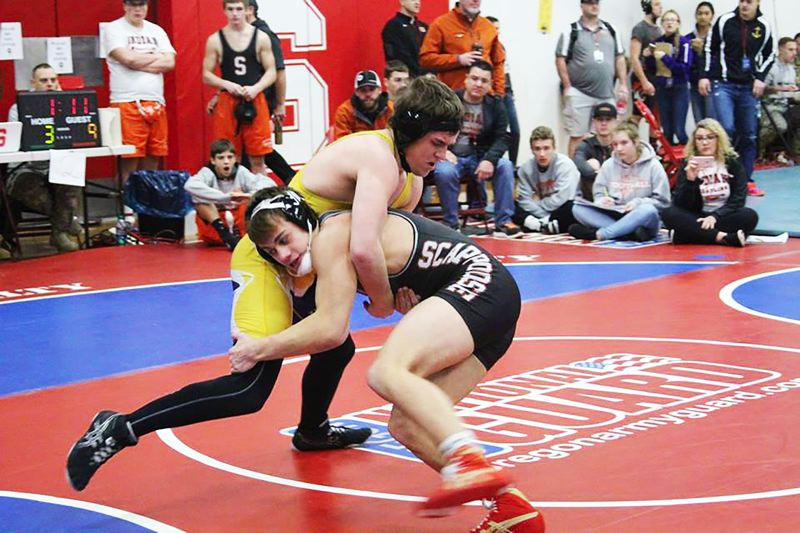 PHOTO CREDIT: JENI SUE - Indians junior Jack Eggers beat Class 5A St. Helens senior Nick Richardson 13-6 for third at 160.