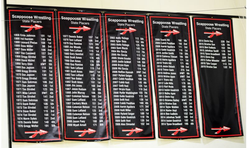 SPOTLIGHT PHOTO: JAKE MCNEAL - Indians wrestling raised five new banners to celebrate its 29 state champions and all of its state placers since 1956 in the gym at Scappoose High School.