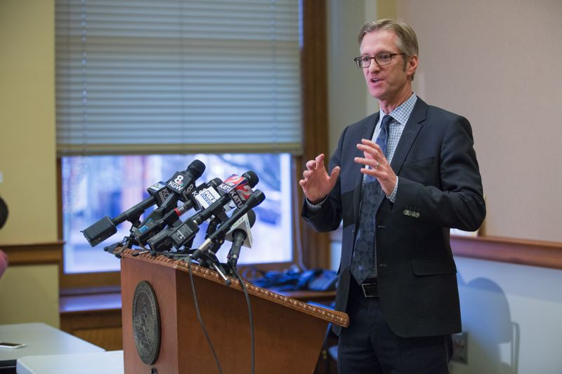 PORTLAND TRIBUNE: JONATHAN HOUSE - Mayor Ted Wheeler answered questions from the press last Friday.