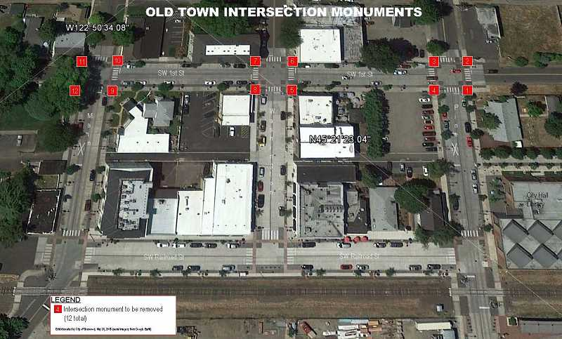 COURTESY CITY OF SHERWOOD - Here are the locations of the monuments that will be removed along First Street in Old Town Sherwood.