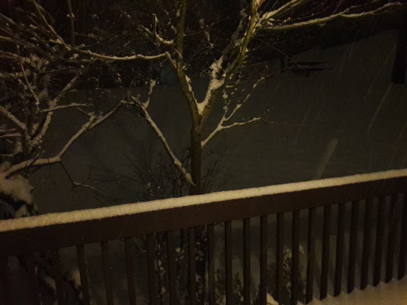 TIMES PHOTO: MARK MILLER - Snow piled up across the region into the night on Tuesday, blanketing this deck in Beaverton's Sexton Mountain neighborhood.