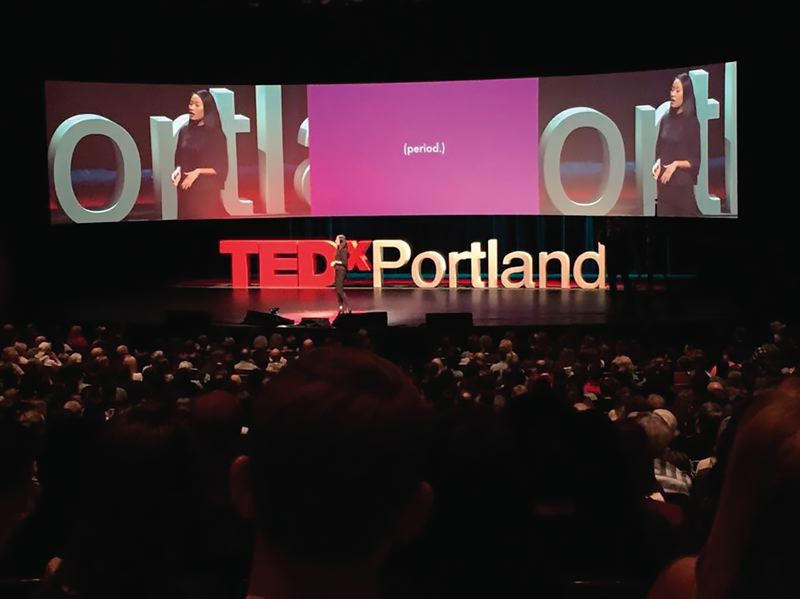 COURTESY: TEDXPORTLAND/JENN BYRNE - Nadya Okamoto recently changed the name of her organization from Camions of Care to Period., with a tagline 'The Menstrual Movement.'