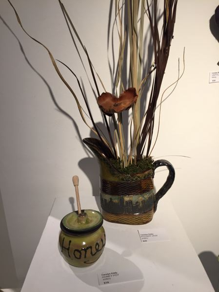 ESTACADA NEWS PHOTO: EMILY LINDSTRAND - Carolyn Eddy has a variety of pieces in the Spiral Gallery's student art show, including this planter and honey pot.