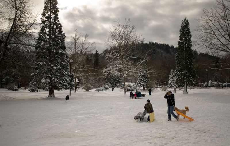 OUTLOOK PHOTO: JOSH KULLA - Main City Park in Gresham was full of activity today after the weather cleared in the wake of large winter storm that dumped nearly a foot of snow on the region.