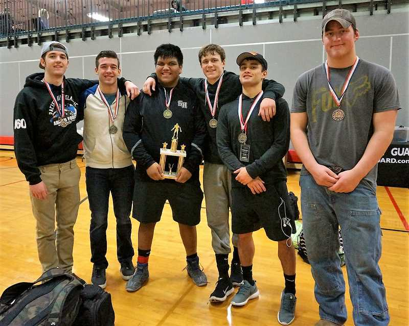 PHOTO CREDIT: BG AGUIRRE - From left, seniors Nick Richardson (fourth, 160 pounds), Zach Gadbois (second, 160), Miguel Olmedo (champion, 285), Colton Beisley (champion, 170), Haidon Allen (champion, 132) and Colton Albertson (third, 285) led the Lions to fourth at the Pacific Rim Armed Forces Tournament Jan. 6-7 in Seaside.