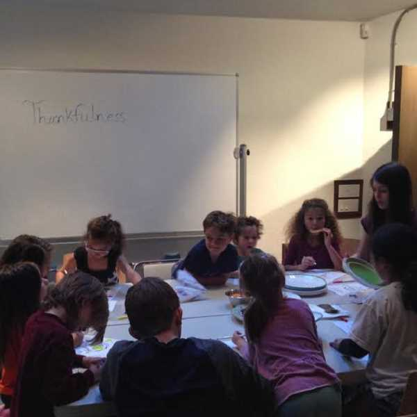 SUBMITTED PHOTO: COURTESY OF ARYA BADIYAN - Lake Oswego resident Jada Badiyan presents during a class on thankfulness.
