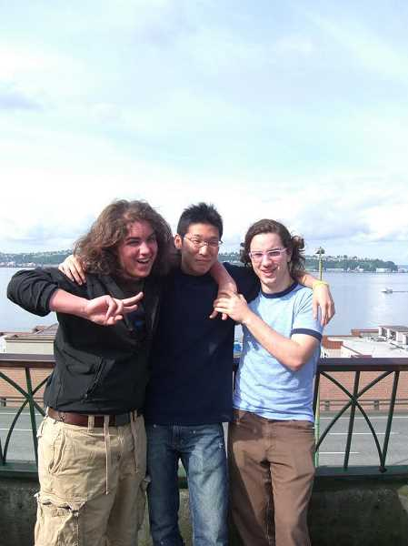 SUBMITTED PHOTO - Griffin Gaffney (right) beams with his brother Devin Gaffney (left) and exchange student Eiichiro Sakai when the three were students at Lake Oswego High School.