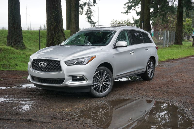 PORTLAND TRIBUNE: JEFF ZURSCHMEIDE - The Infiniti QX60is a luxury crossover SUV with a mid-size cabin that seats up to 7 passengers in three rows. It's got a tried-and-true 3.5-liter V6 engine, and a continuously variable transmission with driving modes like Eco, Sport, Normal, and Snow.