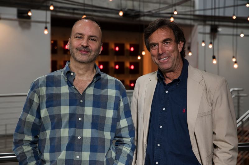 COURTESY: KATE SZROM - Portland Center Stage's Chris Coleman (left) and author Peter Stark worked together on 'Astoria,' including in a July 2016 workshop at The Armory.