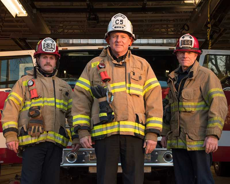 COURTESY OF TVF&R - Lt. Daniel O'Grady, Battalion Chief Jeff Cooper and Capt. Virgil Hall were hired by the Tualatin Rural Fire Protection District and serving as firefighters in 1989 when Tualatin Rural merged with Washington County Fire District 1 to form Tualatin Valley Fire & Rescue.