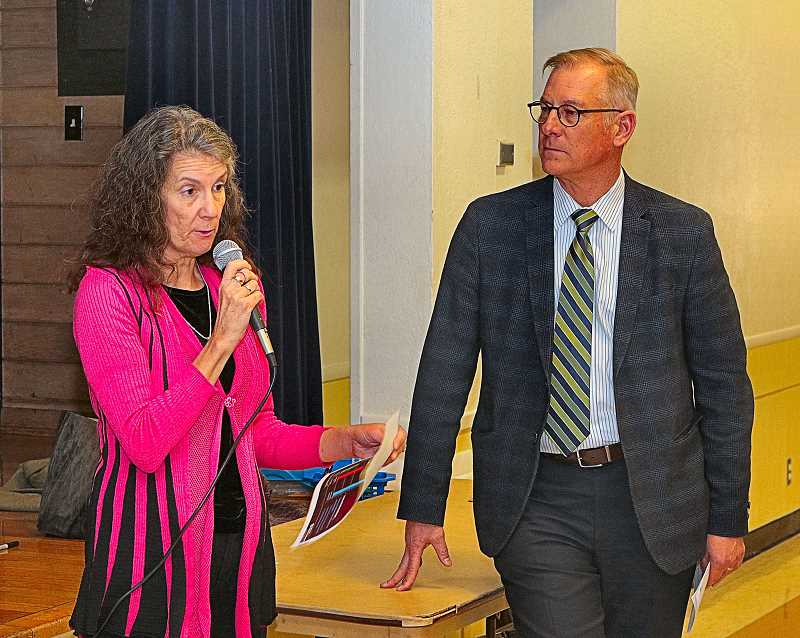 DAVID F. ASHTON - Portland City Parks Commissioner Amanda Fritz told how difficult cuts to the PP&R budget are to make, while Director Mike Abbaté looked on.