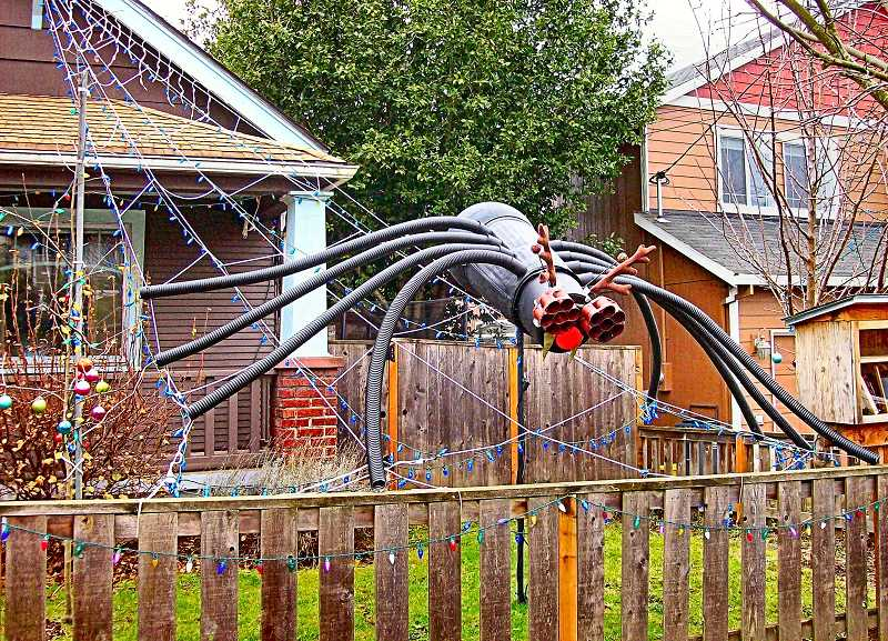 RITA A. LEONARD - This huge red-nosed and antlered Christmas spider was an offbeat seasonal decoration in Woodstock in December.