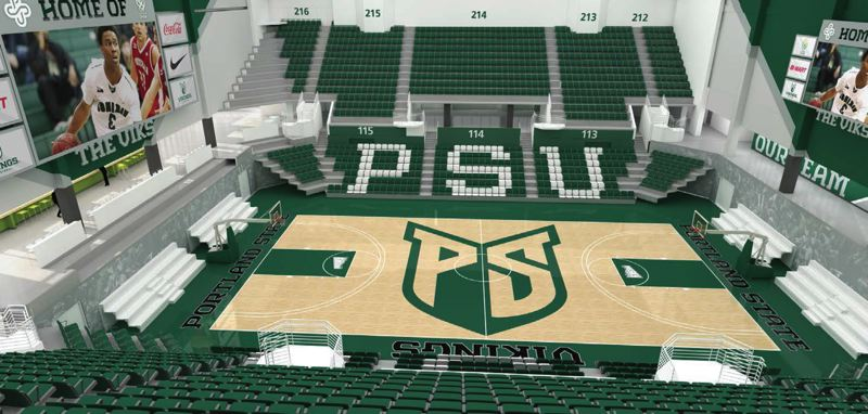 COURTESY: PORTLAND STATE UNIVERSITY - Inside and on level two of the planned Viking Pavilion, which will serve as the new home of Portland State basketball and volleyball, starting in 2018.