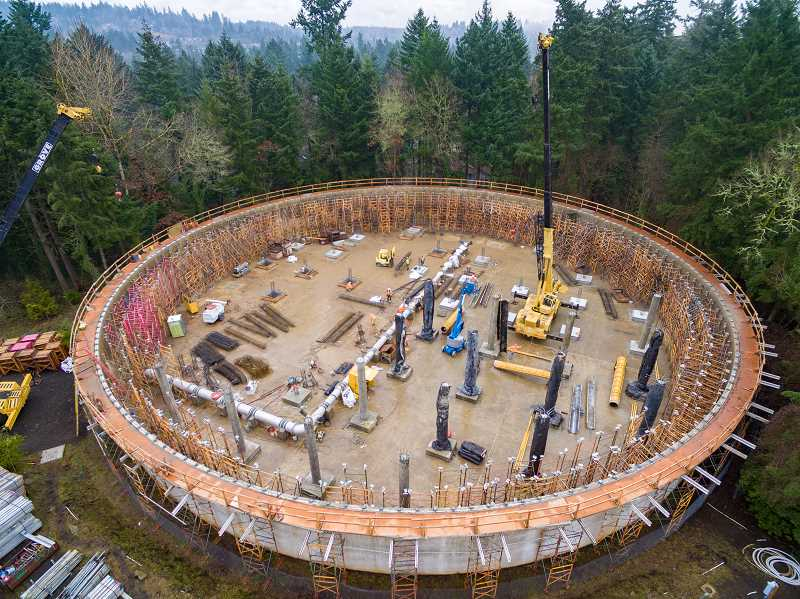 PHOTO COURTESY OF UNIQUE PERSPECTIVES AERIAL PHOTOGRAPHY  - An aerial photo taken in December shows the progress so far on construction of a new roof at the Waluga 1 reservoir in Lake Oswego.