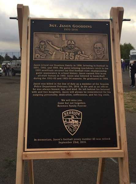 SUBMITTED PHOTO - On Jan. 18, the Sherwood School Board approved naming the football field at Sherwood High School after slain Seaside Police Officer Jason Goodding.