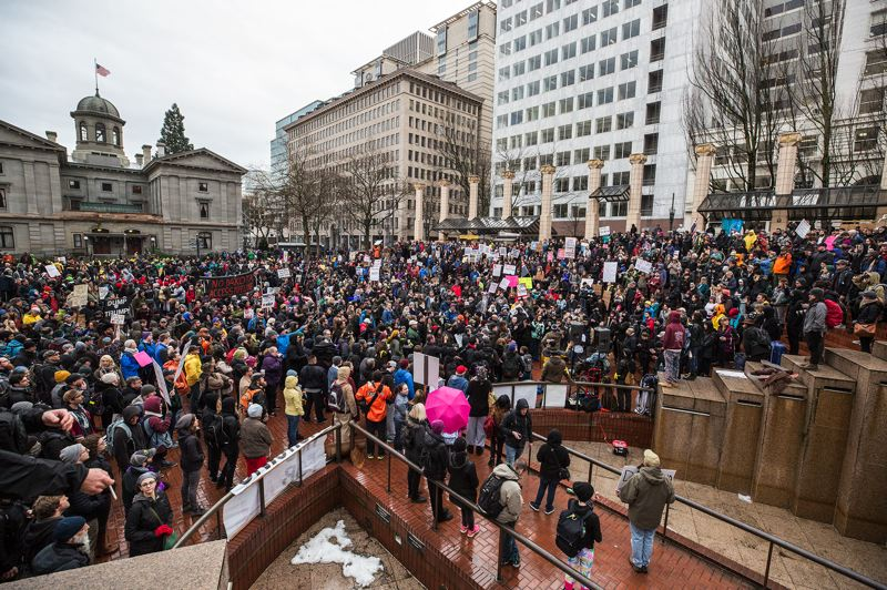 TRIBUNE PHOTO: JONATHAN HOUSE - Organizers of Friday's rally and march in Pioneer Courthouse Square expected more than 1,000 people to gather in downtown.