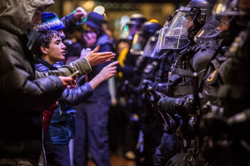 TRIBUNE PHOTO: JONATHAN HOUSE - Protesters and police clashed during the late evening Friday, hours after a peaceful rally and march at Pioneer Courthouse Square.