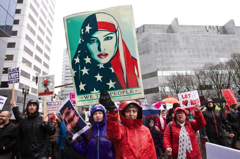 TRIBUNE PHOTO: JAIME VALDEZ - An estimated 100,000 people jammed downtown Portland Saturday afternoon for the Portland Women's March.