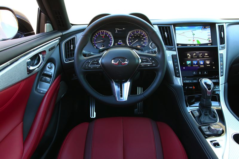 COURTESY INFINITI - The cabin in the 2017 Infiniti Q60 is the height of sophistcation and even more striking with the Red Sport 400 pacakge.