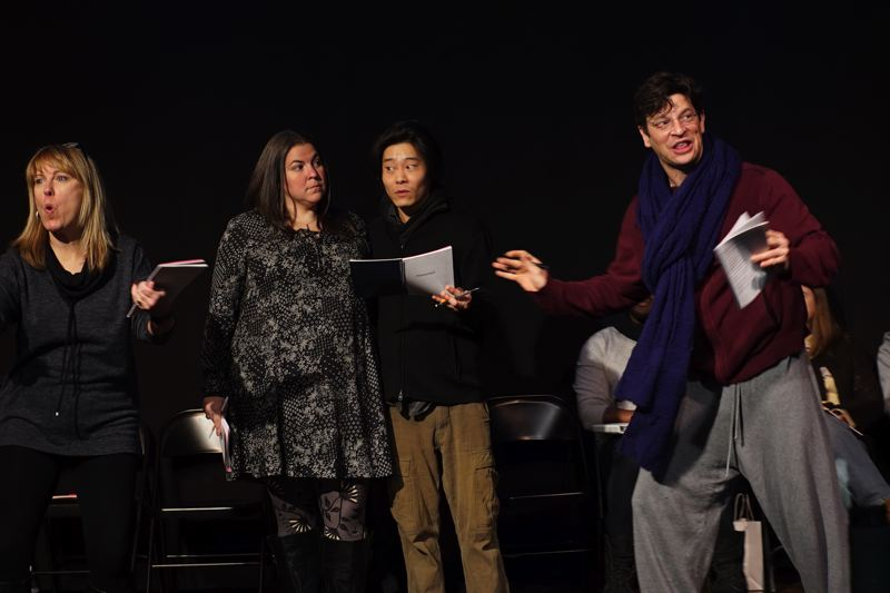 SUBMITTED PHOTO - Pictured above in 'Shanghaied,' part of the Short & Sweet production, from left to right, are RPHS drama teacher Kelley Marchant, and Jennifer Zubernick, Heath Hyun and Michael Teufel.