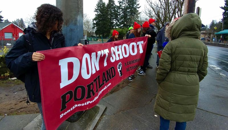 OUTLOOK PHOTO - Don't Shoot Portland organized a protest Friday, Jan. 20, in Gresham to rally against the inaugurtion of President Donald Trump.