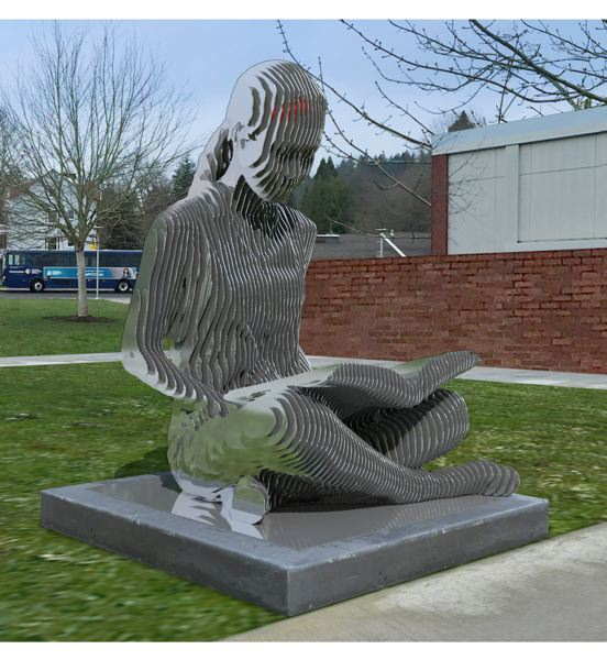 COURTESY: JULIAN VOSS-ANDREAE - Julian Voss-Andreae is designing a sculpture of a woman reading a book for Portland Community College, as seen in this rendering.
