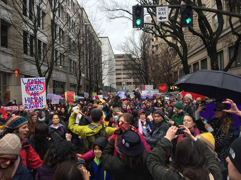 PIONEER PHOTO: CONNER WILLIAMS - Organizers estimate that around 100,000 people filled the streets of downtown Portland on Jan. 21 for the Women's March on Portland.