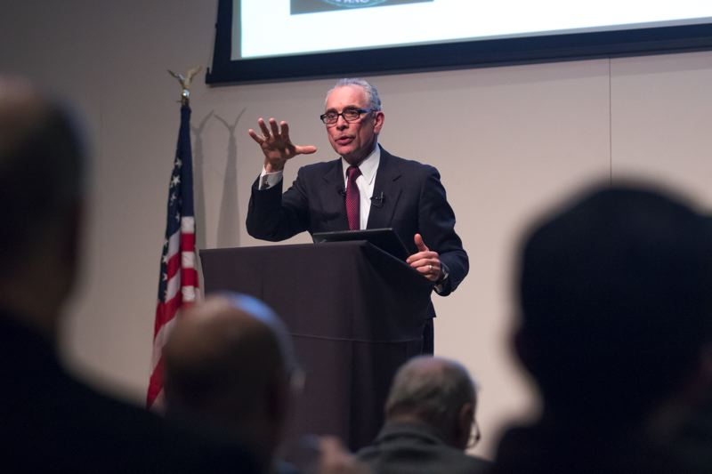 TIMES PHOTO: JONATHAN HOUSE - Tualatin Mayor Lou Ogden gives his annual State of the City speech Tuesday evening at Living Savior Lutheran Church.