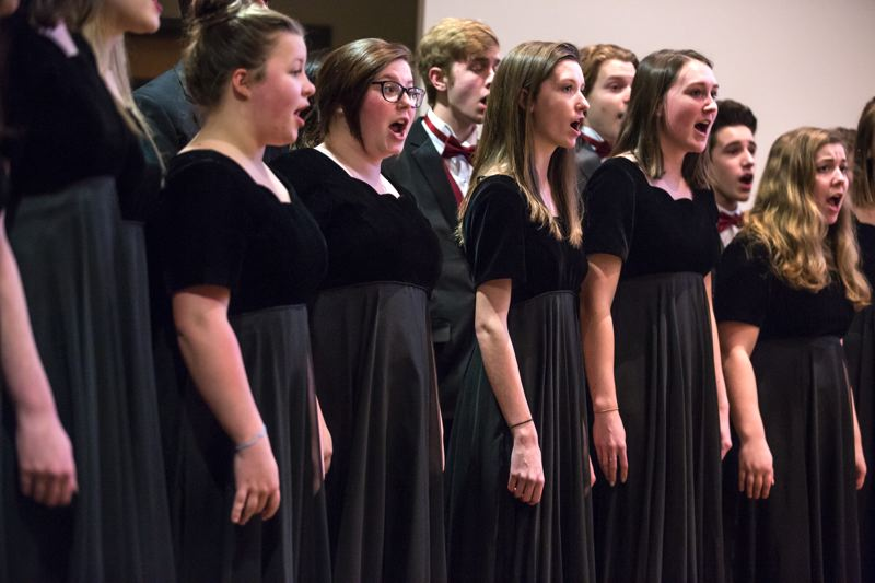 TIMES PHOTO: JONATHAN HOUSE - The Tualatin High School Crimsonnaires opened the State of the City event with 'The Star-Spangled Banner.'