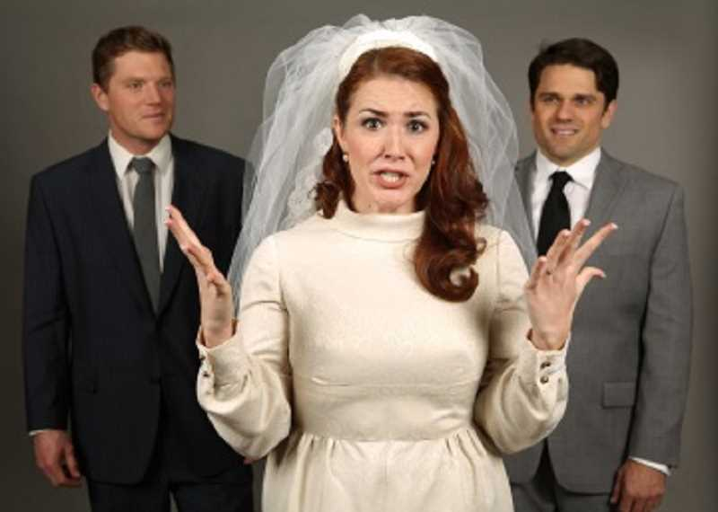 CRAIG MITCHELLDYER/BROADWAY ROSE THEATRE COMPANY - Jared Q. Miller (left), Andrea Enright and Tim Suenkel are confounded by the intricacies of marriage in the Broadway Rose Theatre Company's production of 'Company.'