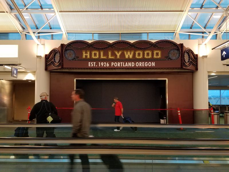 COURTESY: HOLLYWOOD THEATRE - Hollywood Theatre's new theater at Portland International Airport will be adorned with a cool marquee, and it's almost finished — just seating needs to be installed. It'll show free short movies for travelers needing to pass time.