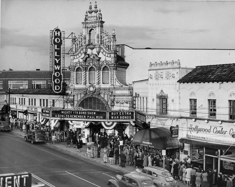 COURTESY: HOLLYWOOD THEATRE - A historical photo from the 1940s shows the popularity of Hollywood Theatre at the time; check out the long line of visitors.