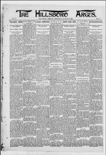 An early copy of The Hillsboro Argus, published in 1895.