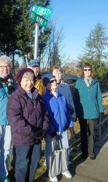 COURTESY PHOTO: JAN PETROSKI - CCLR members (from left) Joy Brown, Sharon Klupenger, John Young, Donna Stone, Karen Dripps and Jill Marvin enjoy a walk downtown Tuesday.