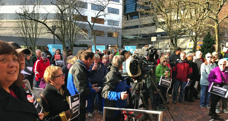 PHOTO BY DANA HAYNES - More than 300 people attended a rally in Portland to speak out against Betsy DeVos' nomination to run the U.S. Department of Education.
