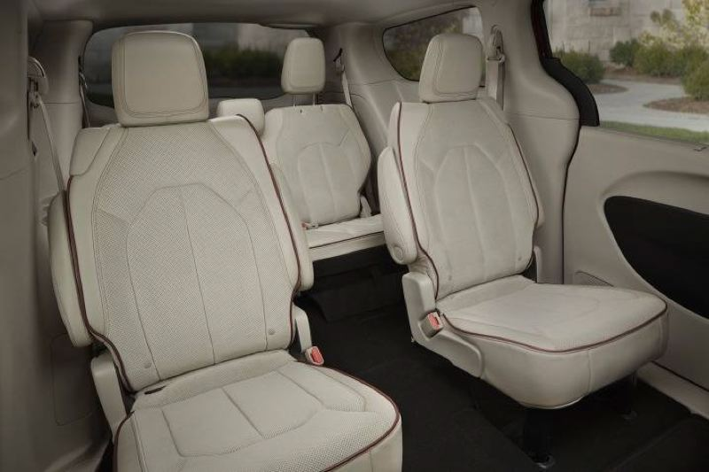 The 2017 Chrysler Pacifica comes standard with Captain's Chair for the second row of seats, which maes reaching the third row easy.