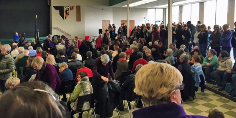 COURTESY PHOTO: ABBY STEVENS - An estimated 600 people crowded into Tigard High School to hear U.S. Jeff Merkley speak on Saturday.