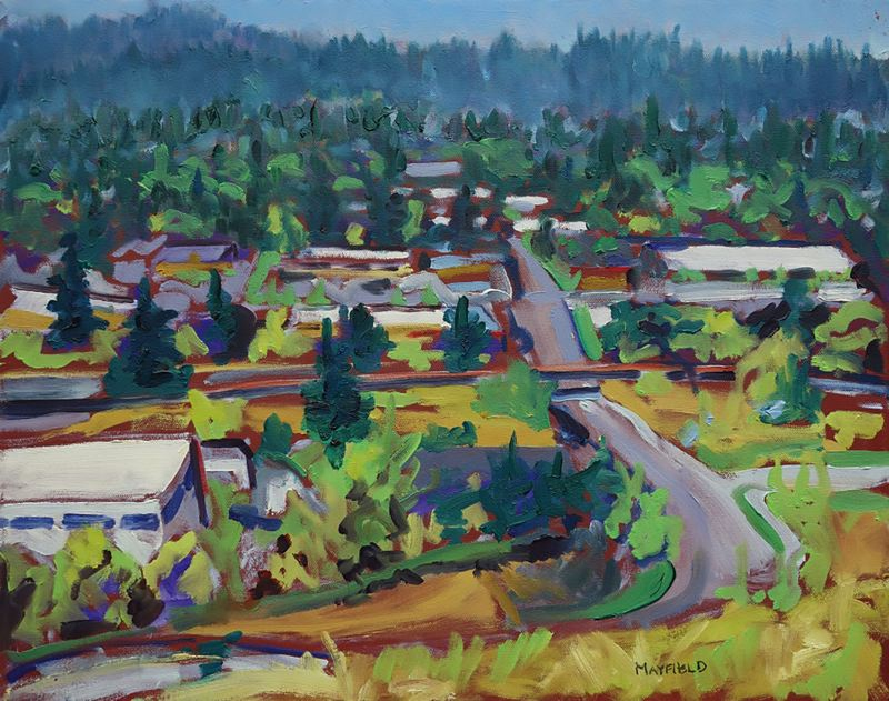 PHOTO BY ELLEN SPITALERI - This painting by David Mayfield depicts a view looking down on Johnson Creek Boulevard; Mayfield works mainly in oils on canvas.