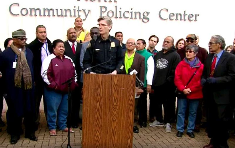 COURTESY PHOTO: KOIN 6 NEWS - Portland Police Chief Mike Marshman joined community leaders Monday, Jan. 30, to offer reassurances after a White House immigration ban was announced late last week.
