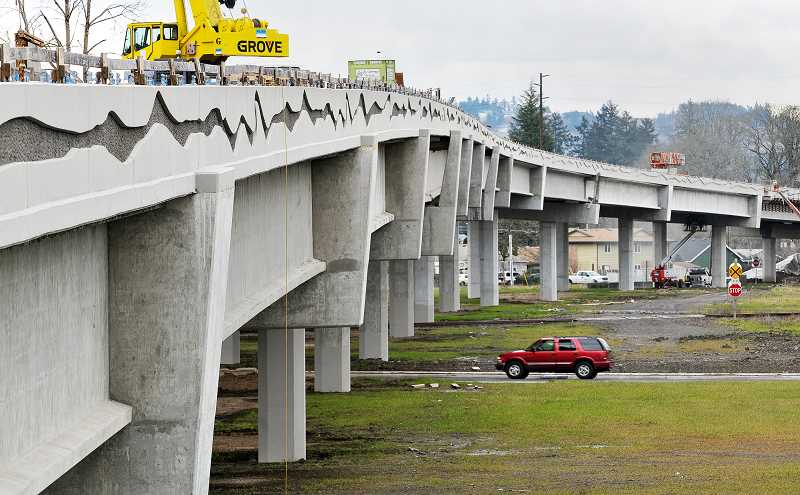 GARY ALLEN - The elevated portion of the first phase of the Newberg-Dundee bypass, located near South College Street, is nearly completed.