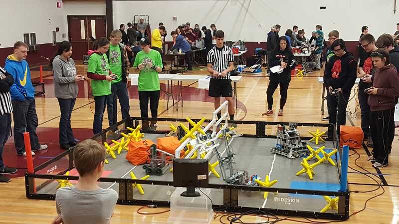 COURTESY PHOTO: SHERIE MORAN - North Marion Voltmaster Teams Scorpio and Juggernaut (left) compete against two teams from Sandy.