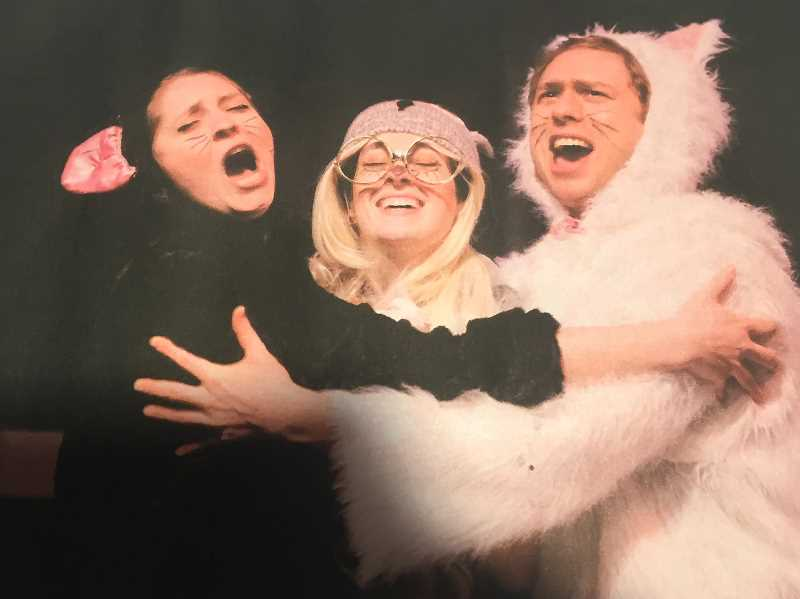 CONTRIBUTED PHOTO - Jennifer Whitten, Jayne Stevens and Dennis Kelly play Spit, Spat and Luna in 'Wing It,' an interactive childrens show at Clackamas Repertory Theatre.
