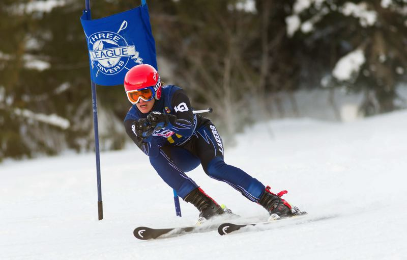 COURTESY MIKE JULIANA PHOTOGRAPHY - Lake Oswego's Drew Pieringer races through Saturday's giant slalom at Mt. Hood Ski Bowl; Pieringer finished 11th for the Lakers with a time of 2:30.36.
