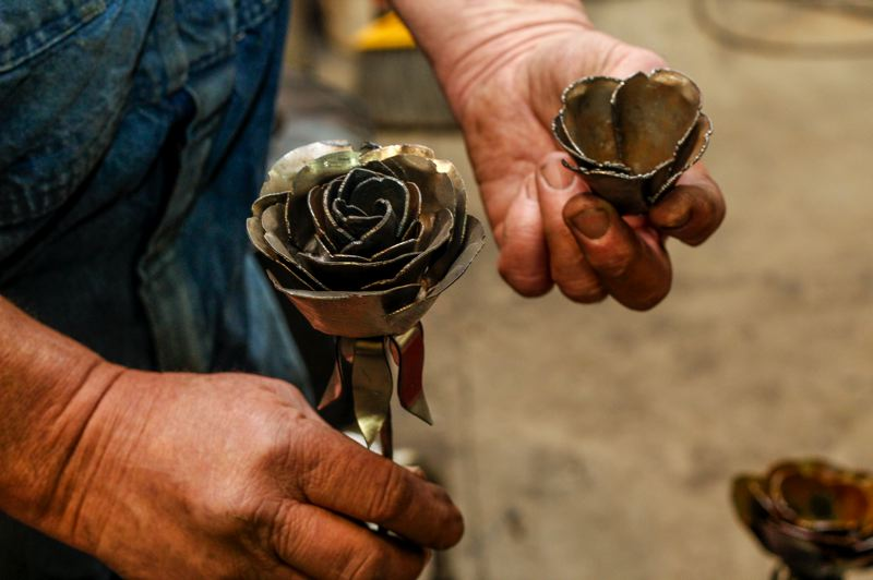 HILLSBORO TRIBUNE PHOTO: TRAVIS LOOSE - Welder-mechanic Stu Luxenberg has only been dabbling in the art world for three years, but has quickly made a name for himself as a top-notch welding artist.