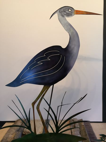 COURTESY PHOTO: STU LUXENBERG - Luxenbergs Egret/Heron is a yard art piece painted with solvent-based dyes. A clear coat was later added for protection, giving the piece a shimmering gleam.