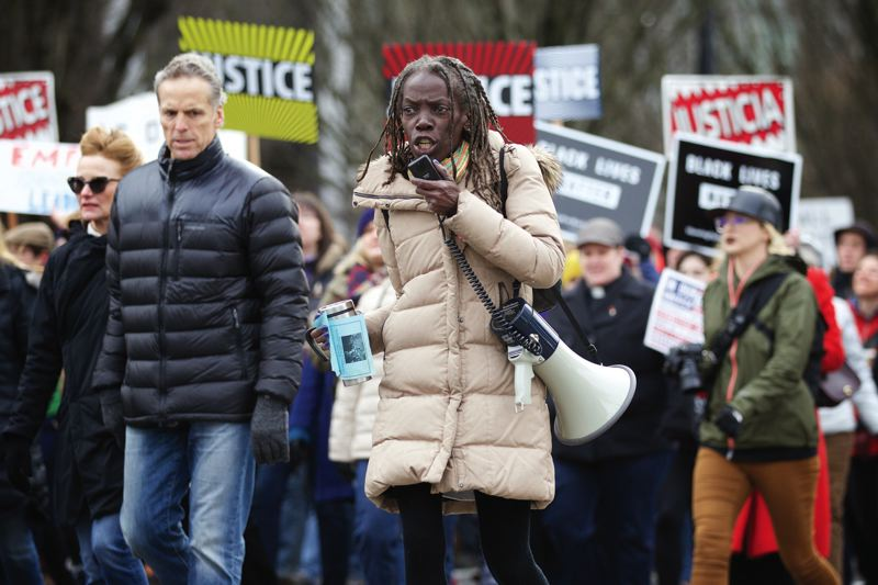 TRIBUNE PHOTO: JAIME VALDEZ - Jo Ann Hardesty, president of the Portland NAACP and a former lawmaker, spoke at Saturday's March for Justice and Equality.